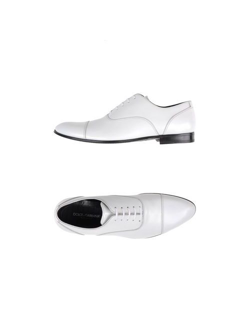 Dolce & Gabbana   Мужская Белая Обувь На Шнурках