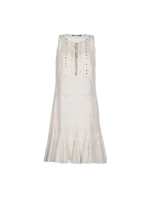 Roberto Cavalli | Женское Слоновая Костящее Платье До Колена
