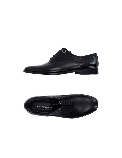 Alessandro Dell'Acqua   Мужская Чёрная Обувь На Шнурках