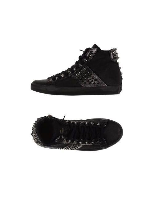 Leather Crown | Женские Чёрные Высокие Кеды И Кроссовки