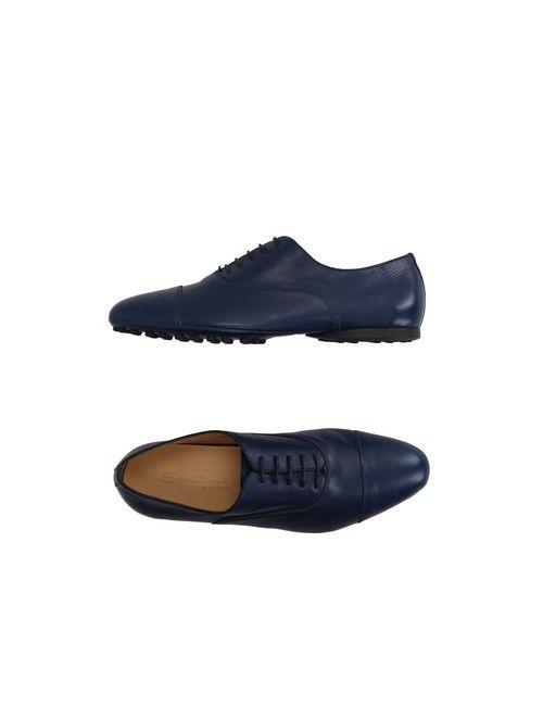 Santoni | Мужская Синяя Обувь На Шнурках