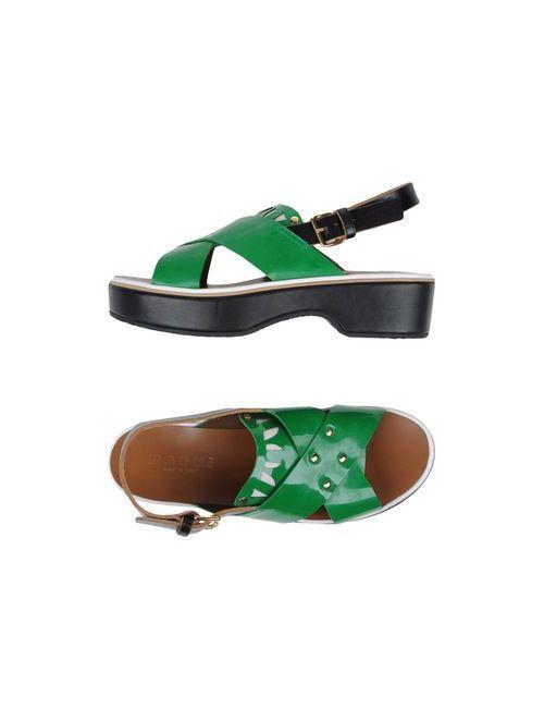 Marni | Женские Зелёные Сандалии