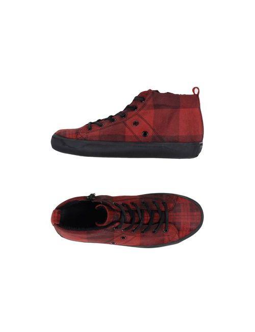 Leather Crown | Мужские Красные Высокие Кеды И Кроссовки