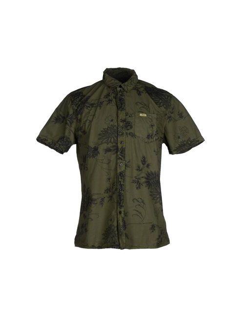 Guess   Мужская Зелёная Pубашка