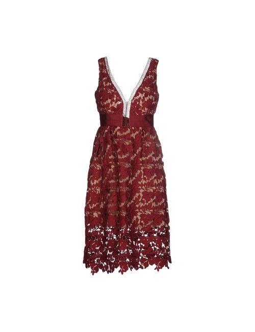 SELF-PORTRAIT | Женское Коричневое Платье До Колена