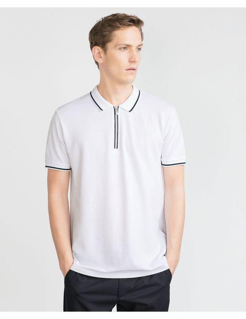 Zara | Мужское Белое Поло С Молнией
