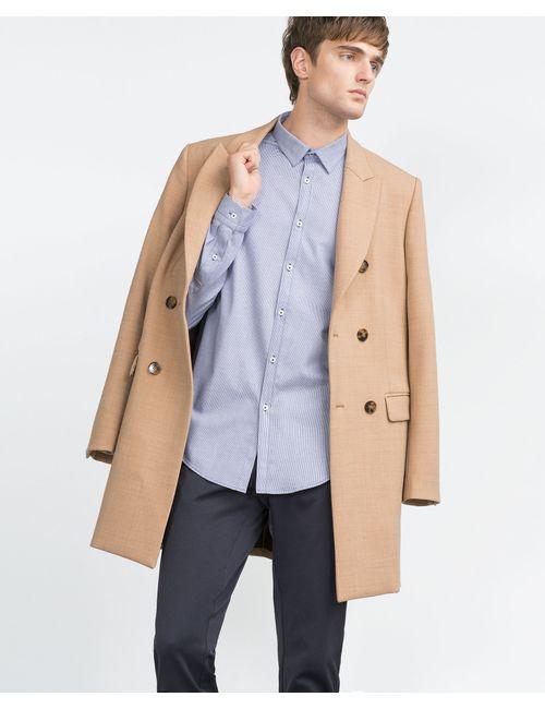 Zara | Мужская Синяя Рубашка С Узором Гусиная Лапка