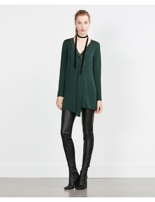 Zara | Женская Зелёная Туника С Разрезом В Центре