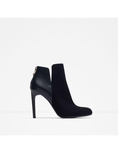 Zara | Женские Чёрные Полусапоги Комбинированные На Каблуке