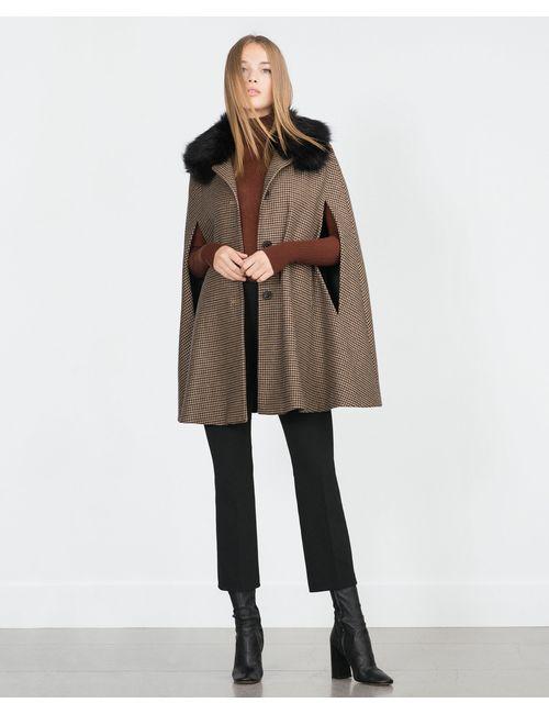 Zara | Женская Коричневая Накидка С Узором Гусиная Лапка