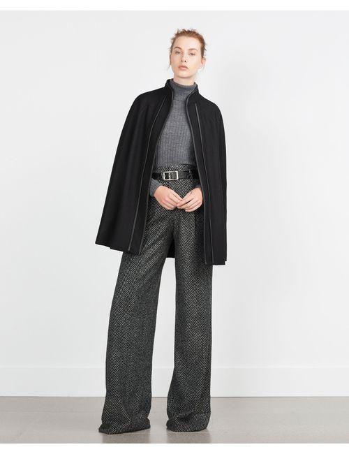 Zara | Женская Чёрная Накидка С Контрастной Окантовкой