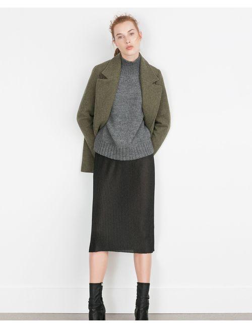 Zara | Женская Серая Плиссированная Юбка