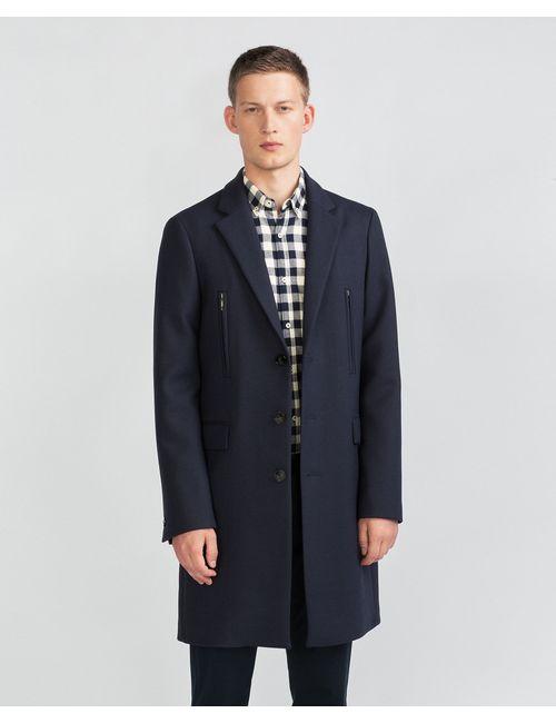 Zara | Мужское Синее Пальто С Молниями