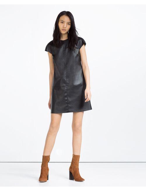 Zara | Женское Чёрное Платье Из Искусственной Кожи С Молниями