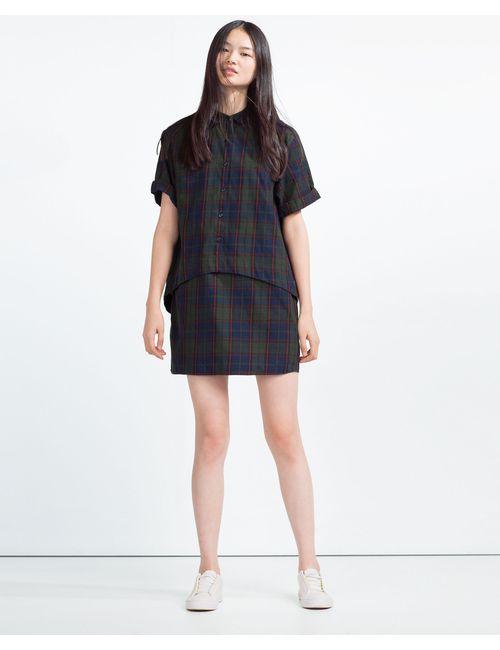 Zara | Женское Синее Платье Двуслойное В Клетку