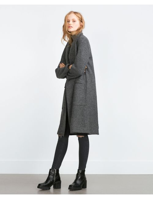 Zara | Женское Серое Суконное Пальто