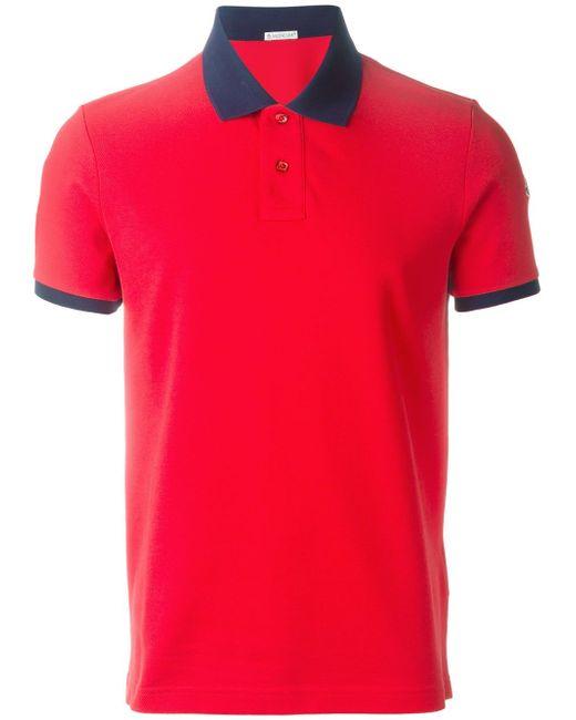 Футболка-Поло С Контрастным Воротником Moncler                                                                                                              красный цвет