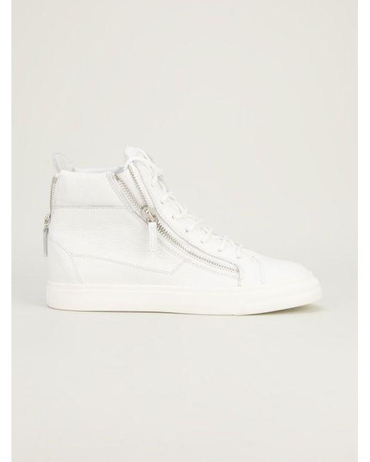 Хайтопы На Шнуровке С Молниями Giuseppe Zanotti Design                                                                                                              белый цвет