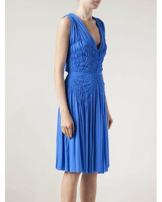 Плиссированное Платье C V-Вырезом Maison Rabih Kayrouz                                                                                                              синий цвет