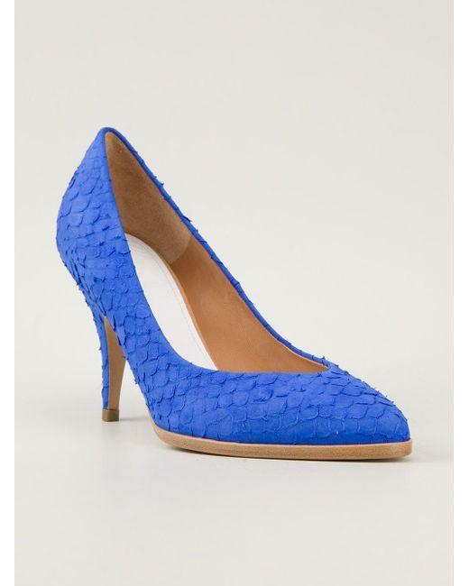 Туфли С Эффектом Змеиной Кожи Maison Margiela                                                                                                              синий цвет