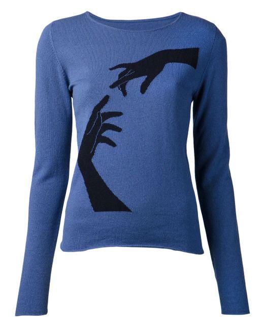 Джемпер Cash Intarsia Hands Lucien Pellat-Finet                                                                                                              синий цвет