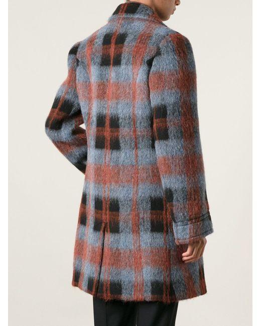 Двубортное Пальто В Клетку Mcq Alexander Mcqueen                                                                                                              синий цвет