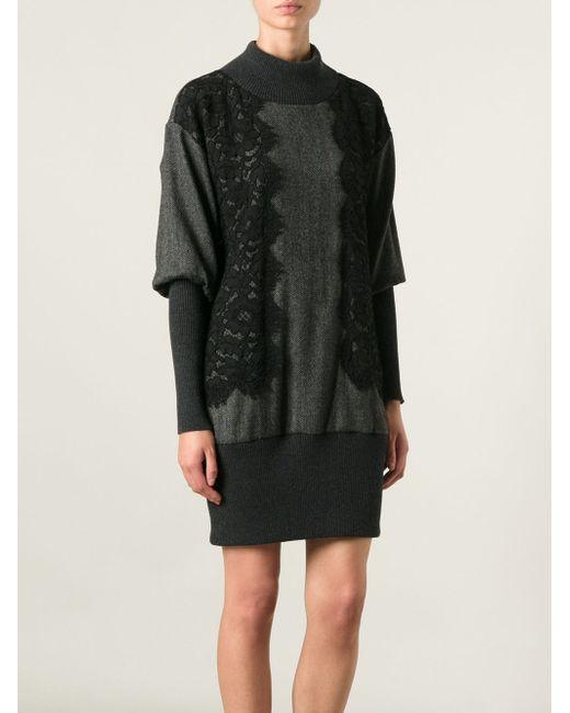 Платье-Свитер С Кружевными Вставками Dolce & Gabbana                                                                                                              серый цвет