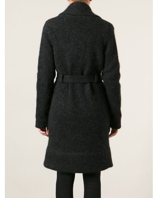 Вязаное Пальто-Кардиган С Поясом Maison Margiela                                                                                                              синий цвет