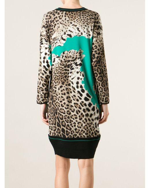 Вязаное Платье С Леопардовым Принтом Roberto Cavalli                                                                                                              многоцветный цвет