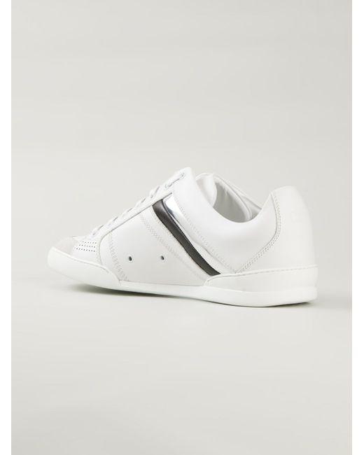 Кроссовки С Лакированными Полосками Dior Homme                                                                                                              белый цвет