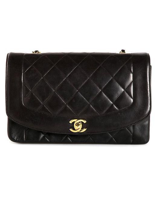 Сумка На Плечо В Рельефную Клетку Chanel Vintage                                                                                                              чёрный цвет