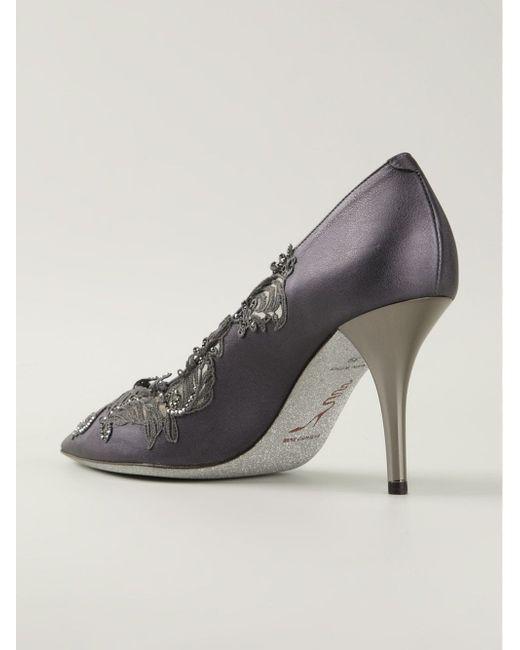 Туфли С Кружевной Отделкой Rene' Caovilla                                                                                                              серый цвет