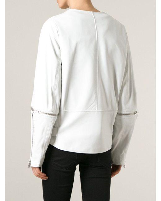 Байкерская Куртка С Молниями На Рукавах Mcq Alexander Mcqueen                                                                                                              белый цвет