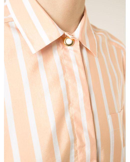 Полосатая Рубашка С Короткими Рукавами Celine Vintage                                                                                                              желтый цвет