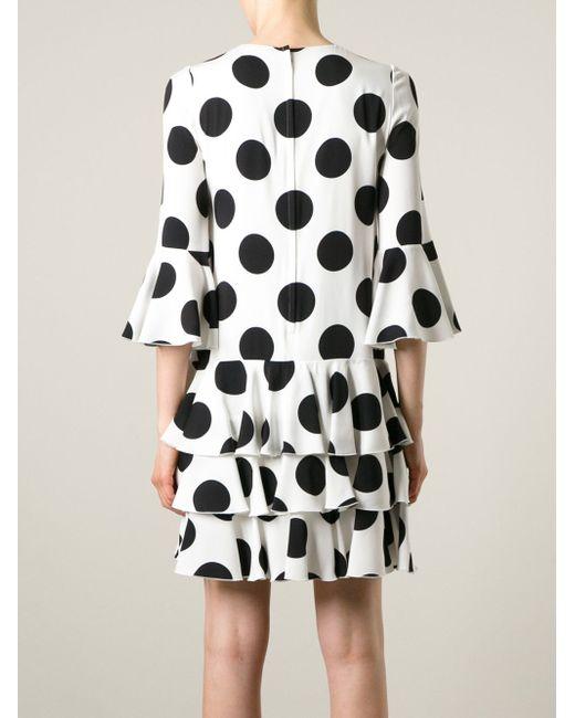 Платье В Горох С Оборками Dolce & Gabbana                                                                                                              белый цвет