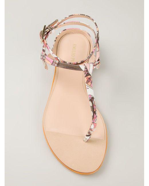 Сандалии С Принтом И Т-Образным Ремешком Emilio Pucci                                                                                                              многоцветный цвет