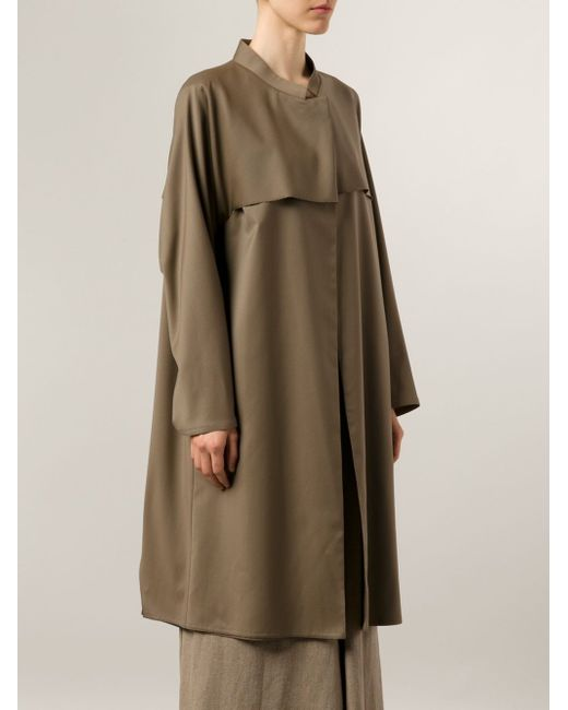 Длинное Пальто С Контрастной Панелью DUSAN                                                                                                              коричневый цвет
