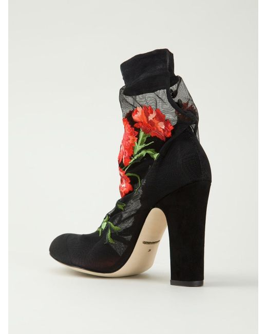 Туфли С Цветочной Вышивкой Dolce & Gabbana                                                                                                              чёрный цвет