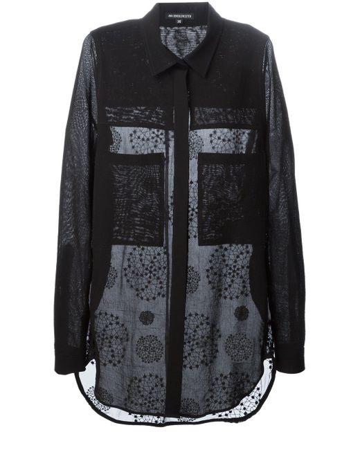 Рубашка С Вышивкой Elgar Ann Demeulemeester                                                                                                              чёрный цвет