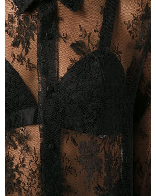 Прозрачная Рубашка Из Кружева OFF-WHITE                                                                                                              чёрный цвет