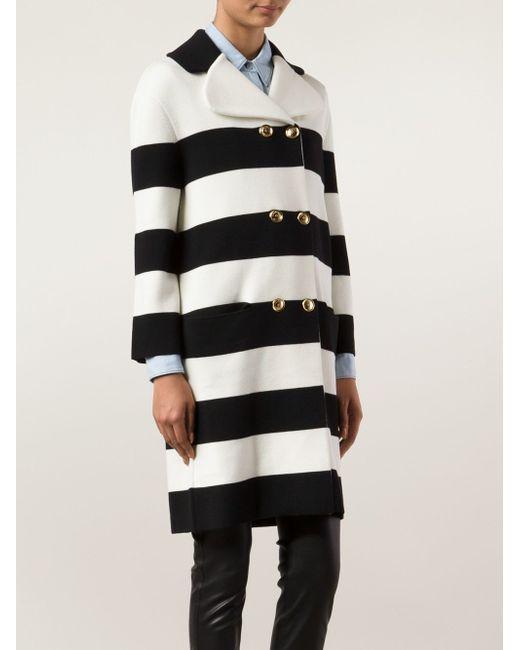 Двубортное Пальто В Полоску BOUTIQUE MOSCHINO                                                                                                              чёрный цвет