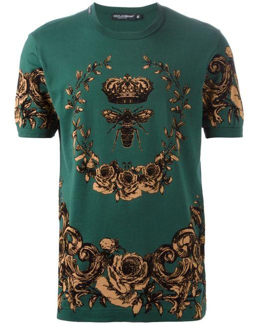 Футболка С Цветочным Принтом Dolce & Gabbana                                                                                                              зелёный цвет