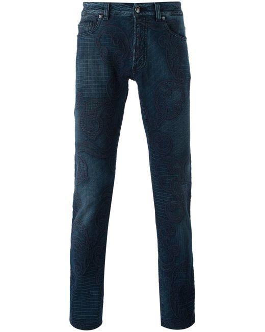 Джинсы Кроя Скинни С Вышивкой Versace                                                                                                              синий цвет