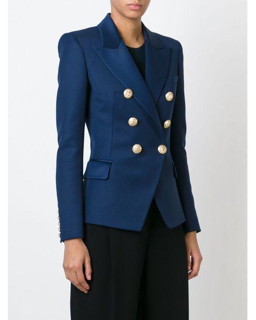 Двубортный Пиджак Balmain                                                                                                              синий цвет