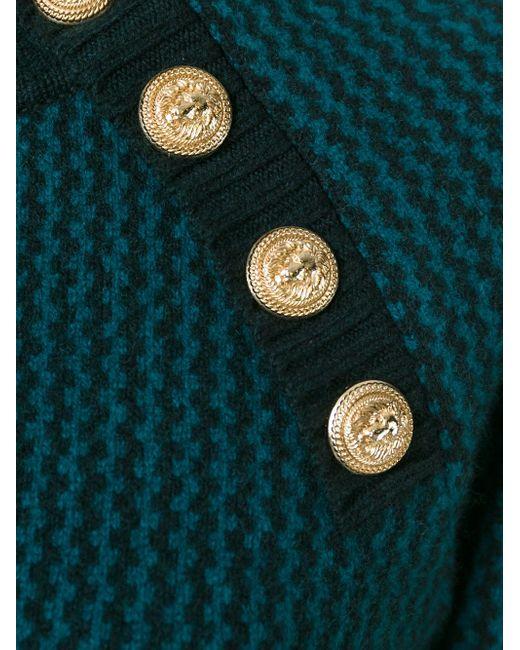 Свитер С Зигзагообразным Узором Balmain                                                                                                              зелёный цвет