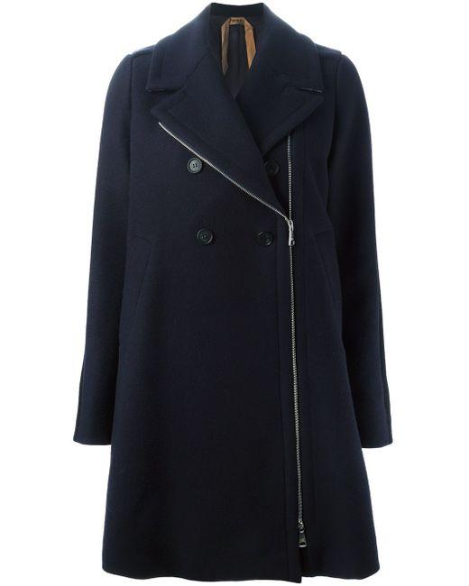 Двубортное Пальто No21                                                                                                              синий цвет