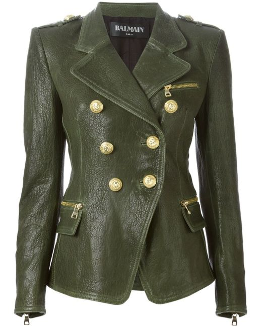 Кожаный Пиджак Balmain                                                                                                              зелёный цвет