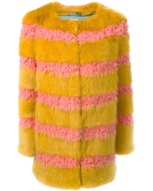 Полосатое Пальто Из Искусственного Меха SHRIMPS                                                                                                              желтый цвет