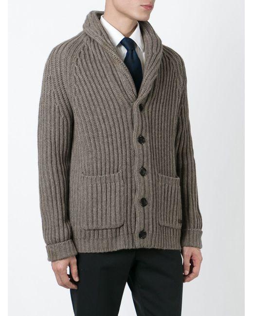 Кардиган С Воротником-Шалькой Burberry London                                                                                                              серый цвет