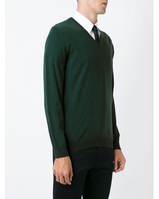 Свитер С V-Образным Вырезом Zanone                                                                                                              зелёный цвет